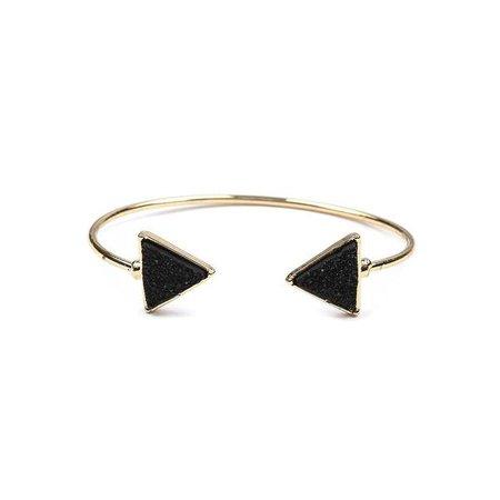 Fashiontage - Black Druzy Triangle Cuff Bracelet - 904033534013
