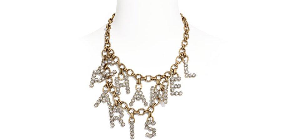 Necklace, metal & diamantés, gold & crystal - CHANEL