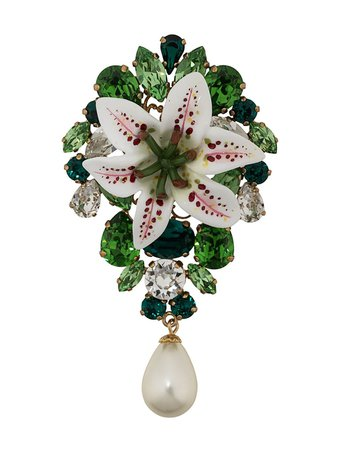 Dolce & Gabbana Flower Embellished Brooch - Farfetch