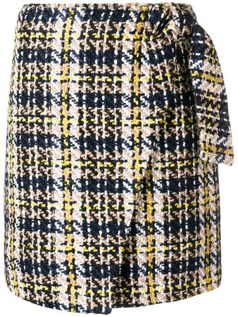 knitted wrapped plaid skirt