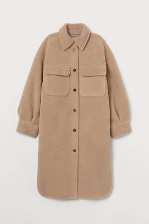 Long faux shearling shacket - Beige - Ladies | H&M