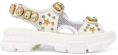 Aguru Embellished Leather And Mesh Sandals - White