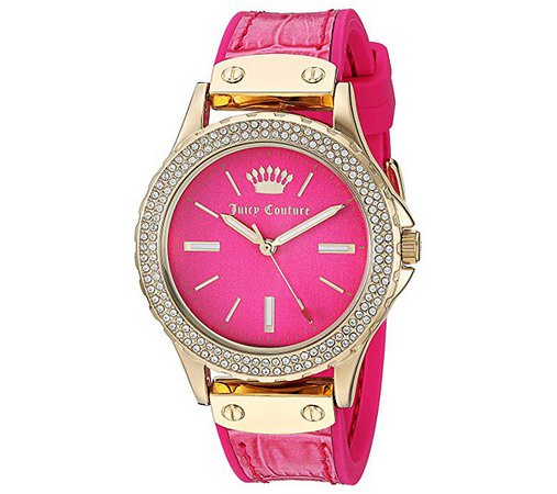 Juicy Couture Ladies' Crystal Bezel Hot Pink Watch — QVC.com