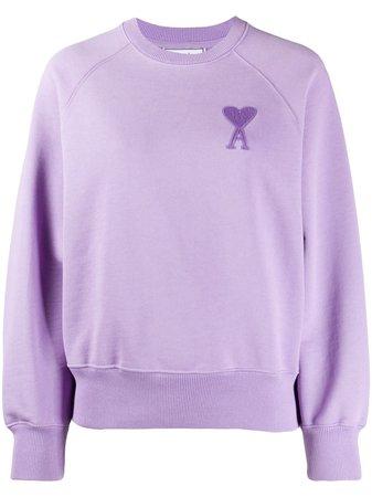 Purple AMI Paris Ami de Coeur sweatshirt with Express Delivery - Farfetch
