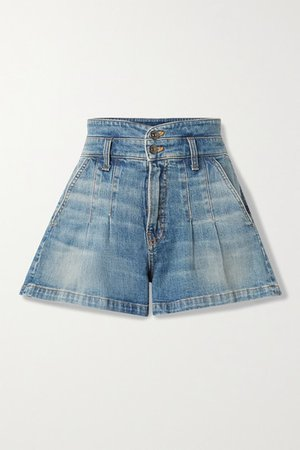 Jaylen Pleated Denim Shorts - Blue