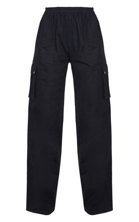 Black Wide Leg Cargo Trouser   Trousers   PrettyLittleThing