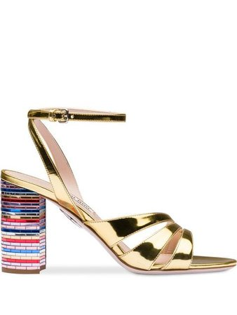 Miu Miu Metallic leather sandals with mosaic heel £625 - Buy Online - Mobile Friendly, Fast Delivery