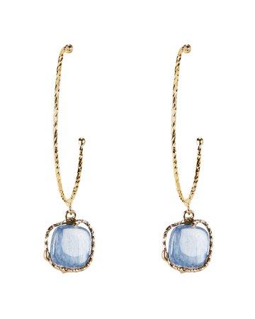 Nettare Blue Stone Gold Hoop Earrings
