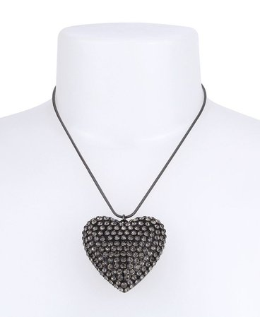 Betsey Johnson Pave Heart Pendant Slider Necklace & Reviews - Necklaces - Jewelry & Watches - Macy's