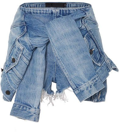 Tie-front Denim Shorts - Light denim