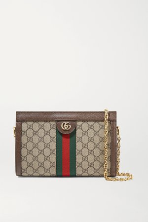 Brown Ophidia textured leather-trimmed printed coated-canvas shoulder bag | Gucci | NET-A-PORTER