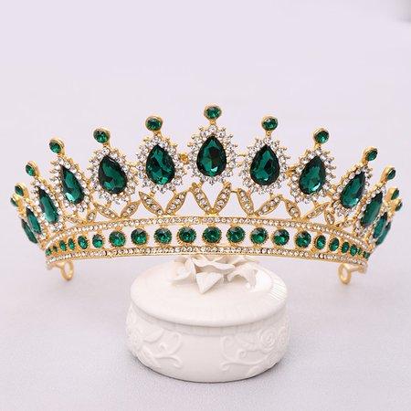Luxury Green Rhinestone Crystal Wedding Tiara Crowns Queen Diadem Page – Likeaflow