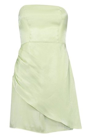 Satin Bandeau Wrap Skirt Mini Dress   boohoo green