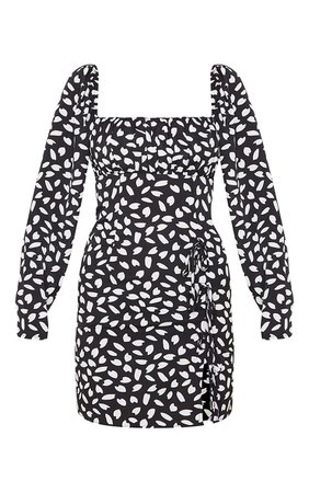 Black Seed Print Bow Detail Split Bodycon Dress   PrettyLittleThing USA