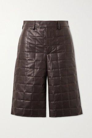 Brown Quilted leather shorts | Bottega Veneta | NET-A-PORTER