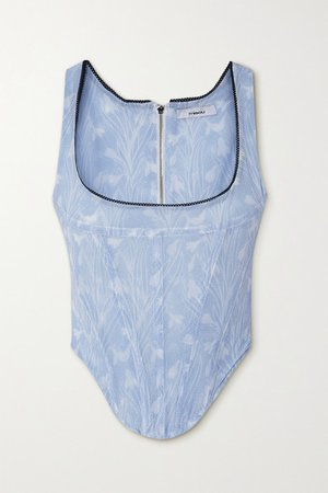 Campbell Lace-trimmed Floral-print Stretch-mesh Bustier Top - Blue