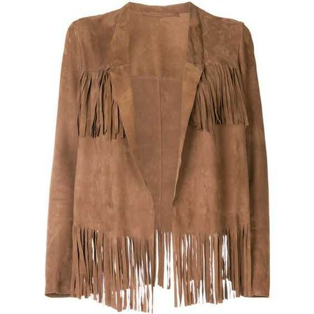 Salvatore Santoro fringed jacket (65.440 RUB) ❤ liked on Polyvore featuring outerwear, jackets, brown, salvatore santoro, 100 leather jacket, brown leather jackets, leather jackets and fringe jacket