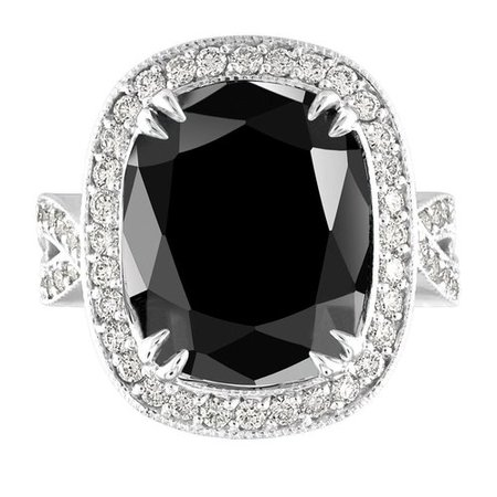 18.65 Carat Black Diamond Engagement Ring, One of a Kind Platinum Wedding Ring, Unique Anniversary Ring, Large Halo Pave Certified Handmade