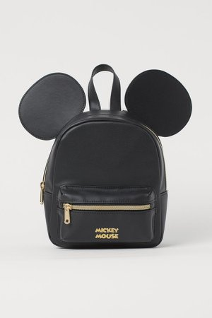 Appliqued Mini Backpack - Black