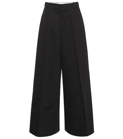Wide-leg cotton and linen pants