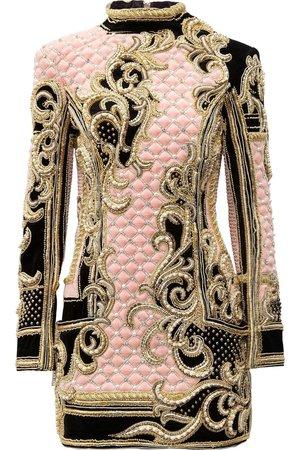 Embellished quilted velvet mini dress by Balmain