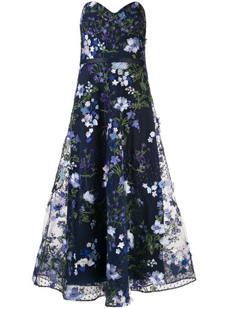 Marchesa Notte Floral Appliqué Flared Gown - Farfetch