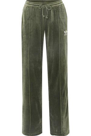 Dark green Striped stretch-velvet track pants | adidas Originals | NET-A-PORTER
