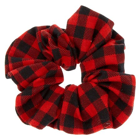 Buffalo Check Hair Scrunchie - Red | Claire's