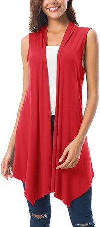 Women's Sleeveless Draped Open Front Cardigan Vest Asymmetric Hem (L, White) at Amazon Women's Clothing store