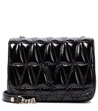 Versace - Virtus patent leather shoulder bag | Mytheresa