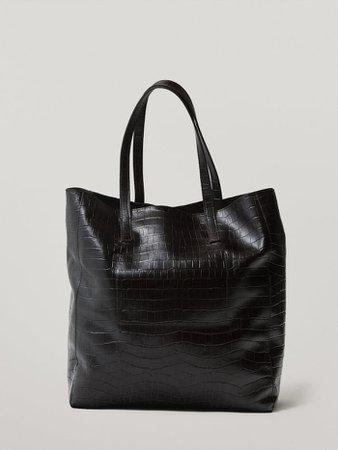Leather mock-croc tote bag - Women - Massimo Dutti
