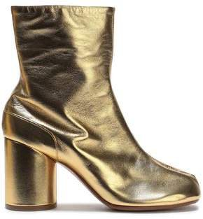 Tabi Split-toe Metallic Leather Ankle Boots