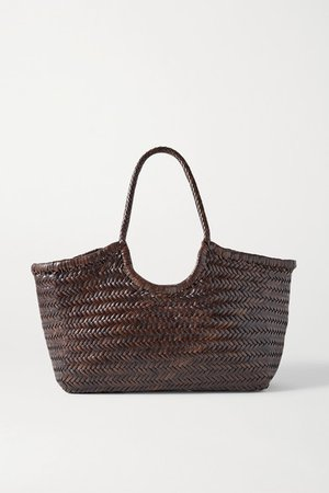 Nantucket Large Woven Leather Tote - Dark brown
