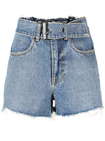 Shop blue Alexander Wang high-waisted denim shorts with Express Delivery - Farfetch