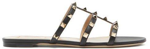 Rockstud Leather Sandals - Black