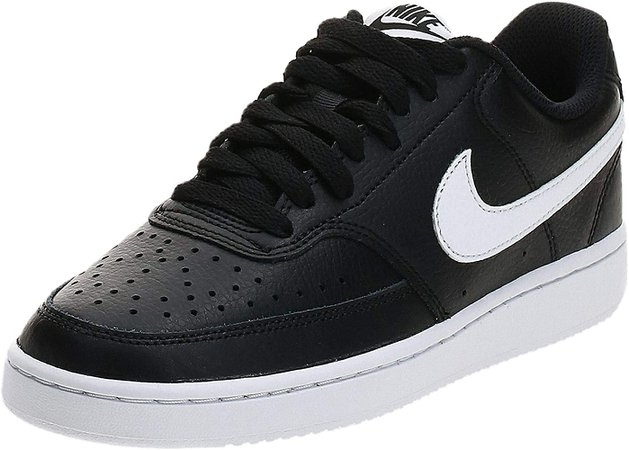 Amazon.com | Nike Women's Court Vision Low Sneaker, Black/White, 7.5 Regular US | Fashion Sneakers