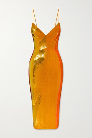 Orange Addilyn Midikleid aus Crêpe mit Pailletten | Alex Perry | NET-A-PORTER