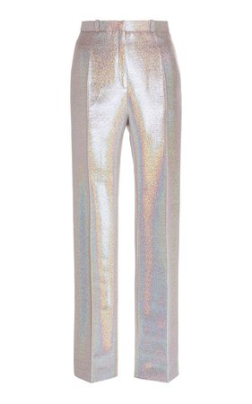 Paco Rabanne Iridescent Crepe Straight-Leg Pants