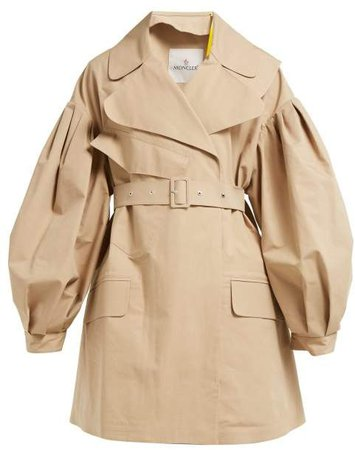 4 Moncler Belted Cotton Twill Trench Coat - Womens - Beige