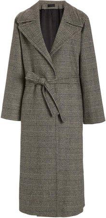 NILI LOTAN Luke Glen Plaid Wool-Blend Wrap Coat
