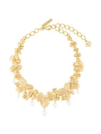Oscar De La Renta, Crystal Flower Necklace