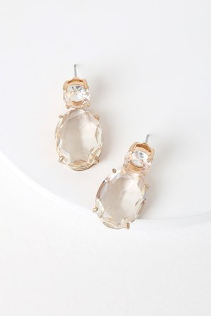 Chic Clear Rhinestone Earrings - Gold Post Back Earrings