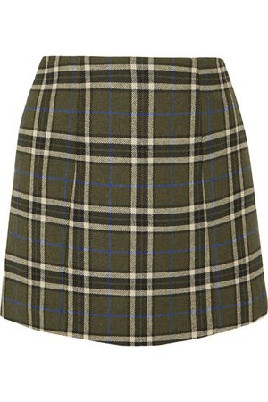 ALEXACHUNG | Plaid twill mini skirt | NET-A-PORTER.COM