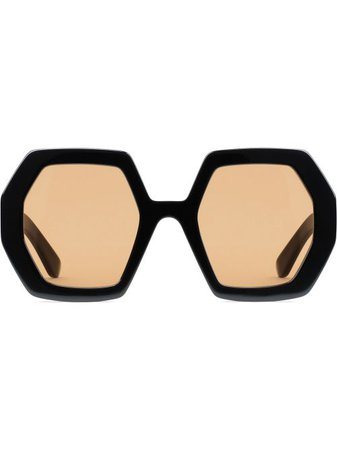 Shop black & yellow Gucci Eyewear oversized octagonal frame sunglasses with Express Delivery - Farfetch
