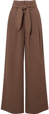 Nanushka - Nevada Gingham Woven Wide-leg Pants - Brown