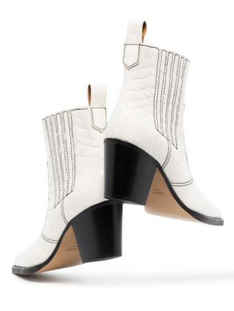Shop white GANNI Western 60mm croc-effect ankle boots with Express Delivery - Farfetch