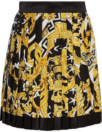 Pleated Printed Silk-twill Mini Skirt - Yellow