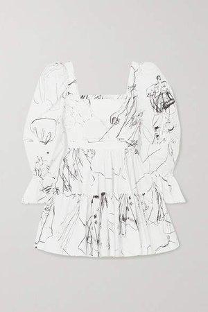Tiered Printed Cotton Mini Dress - Ivory