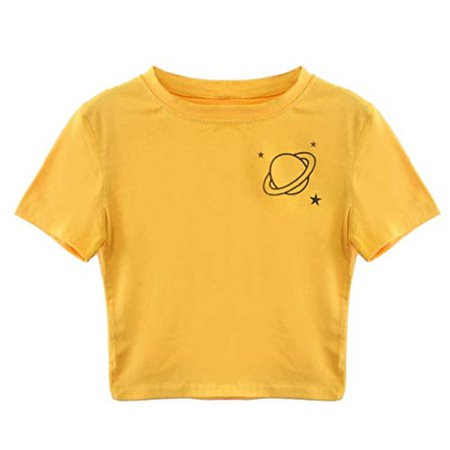 yellow crop top with planet