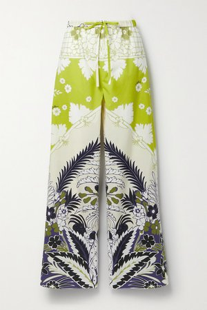 Printed Cotton-poplin Wide-leg Pants - Cream